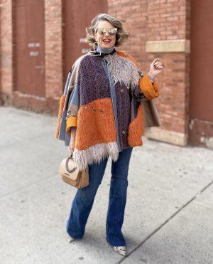שירי ויצנר בשבוע האופנה של ניו יורק, מנהטן, מעיל עופרי מצא