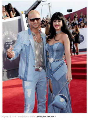 Katy Perry and Riff Raf- denim look on the red carpet
